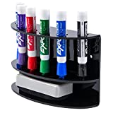 2-Tiered Wall Mounted Black Acrylic Dry Erase Board Marker and Eraser Holder ...