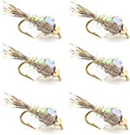 The Fly Fishing Place Bead Head Nymph Fly Fishing Flies - Flashback Gold Ribbed Hare's Ear Trout Fly - Nym