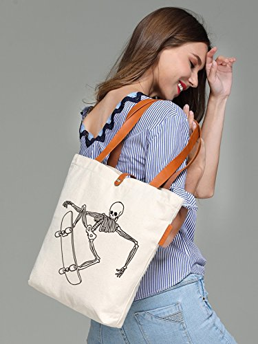So'each Women's Skate Skull Graphic Top Handle Canvas Tote Shoulder Bag