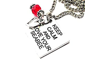 "ChubbyChicoCharms Keep Calm And Love Your Seabee Heart And Crystal 18"" Necklace by ChubbyChicoCharms"