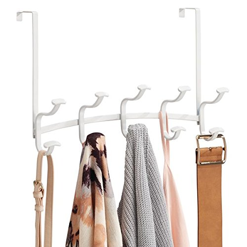 mDesign Spa Over The Door 10-Hook Rack for Coats, Hats, Robes, Towels - Matte White by mDesign