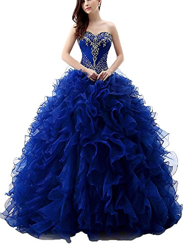 Onlybridal Women's Organza Strapless Embroidery Beaded Ruffle Ball Gown 15 Dresses Quinceanera Dresses Royal Blue