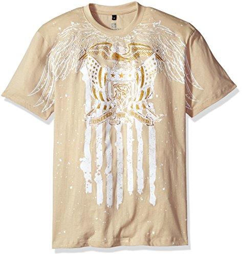Southpole Men's Short Sleeve HD, Foil, Flock Print All Over Graphic Tee, Bone/Foil Eagle, (Eagle Print Tee)