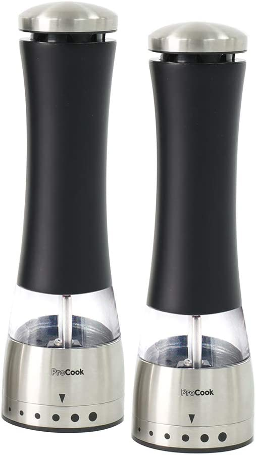 Cook Pro ProCook Premium Electric Stainless Steel /& Black Salt and Pepper Mill Set 21cm