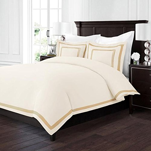 - Sleep Restoration Luxury Soft Brushed Embroidered Microfiber Duvet Cover Set with Beautiful Trim & Embroidery Details - Hypoallergenic - King/Cal King - Cream/Gold