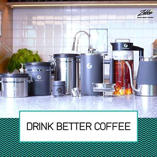 CAFETIERE A Piston/A Pression Gris 1 Litre en INOX de qualité supérieure avec parois isolantes - Votre café Reste Chaud Longtemps - Boîte de Conservation pour café moulu ou en Grains Offerte