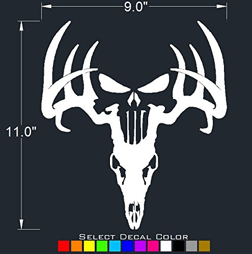 (UNDERGROUND DESIGNS Deer Punisher Skull Decal Window Hunting Sticker Bone Collector SELECT COLOR (Lime Green))