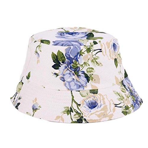 Kintaz Baseball Hat,2018 Flat Bucket Hat Flower Pattern Sun Protection Sunhat Outdoor Fisherman's Hat For Women (B)