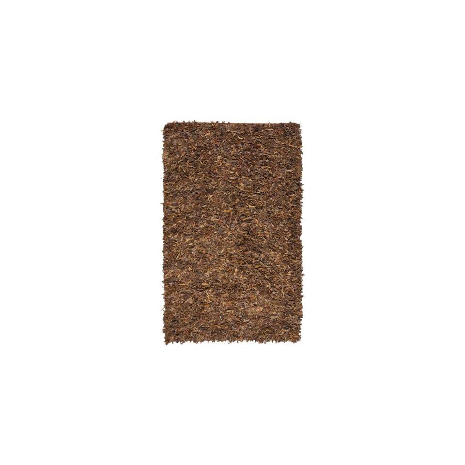 Safavieh Leather Shag LSG511B 6 Square Saddle Area Rug