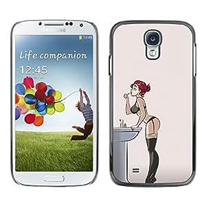 Redhead atractivo de la ropa interior de la muchacha Medias- Metal de aluminio y de plástico duro Caja del teléfono - Negro - Samsung Galaxy S4