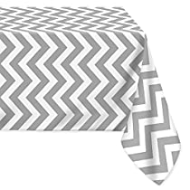 LEEVAN Fabric Tablecloth Stylish Waterproof Spill-proof Chevron Pattern Home Decoration Table Cover Polyster Tablecloth - Grey,54x108 Inch