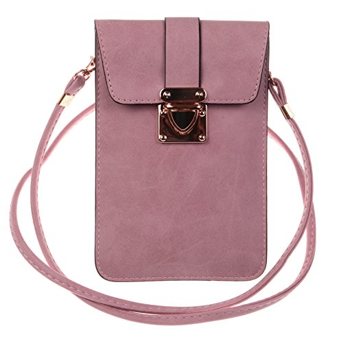 KISS GOLD (TM) Luxury Matte PU Leather Mini Crossbody Single Shoulder Bag Cellphone Pouch (Model A-Violet)