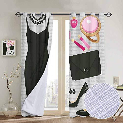 NUOMANAN Blackout Curtains Heels and Dresses,Black Smart Cocktail Dress Perfume Make Up Clutch Bag,Black Light Pink Light Brown,for Bedroom,Nursery,Living Room 52