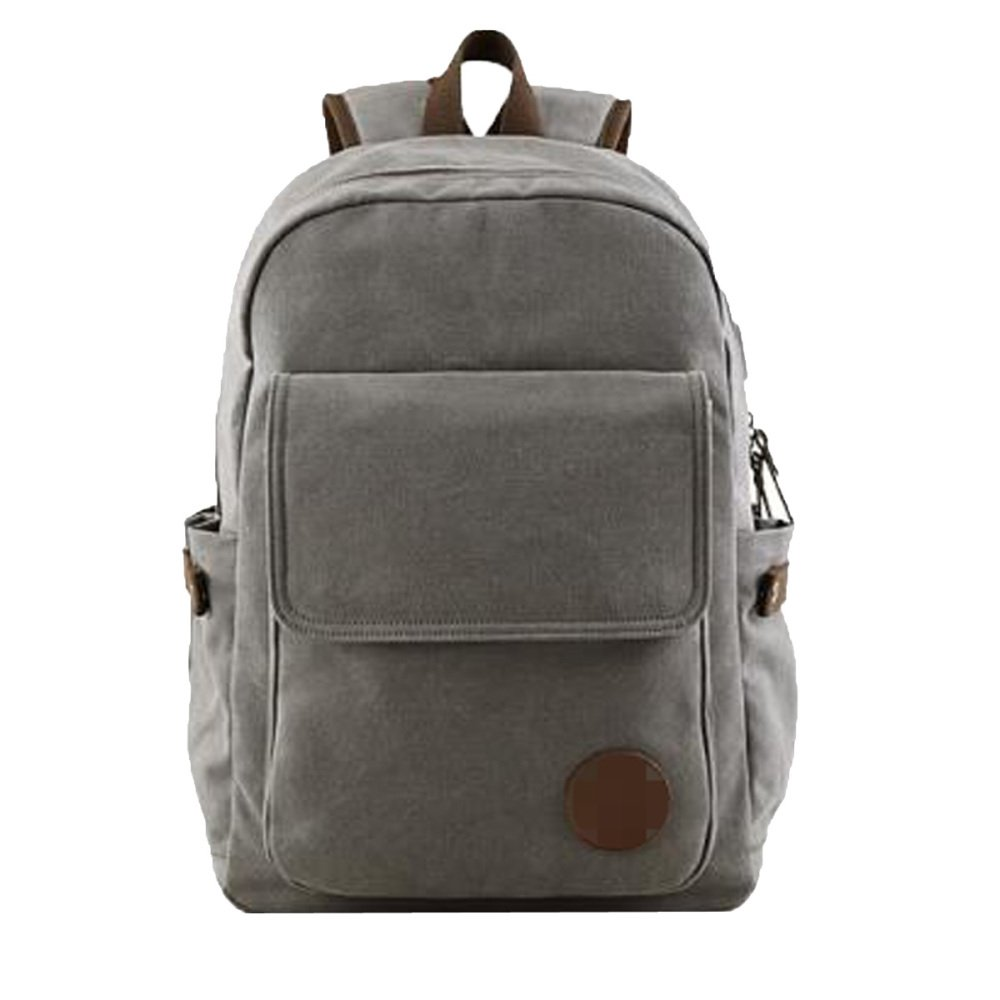 Grey M Men's USB Charging Port Student Bag Backpack Travelling Bag Computer Bag Canvas Backpack