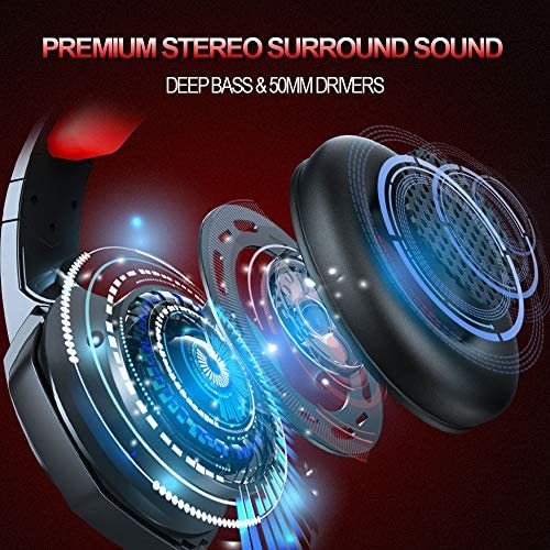 Gaming Headset, Gaming Headphones with Microphone Noise Cancelling Over-Ear Headphones, Stereo Surround Sound, LED Light, Soft Earmuffs Gamer Headphones for PS4,PS5,Nintendo Switch,Xbox One,PC,Laptop