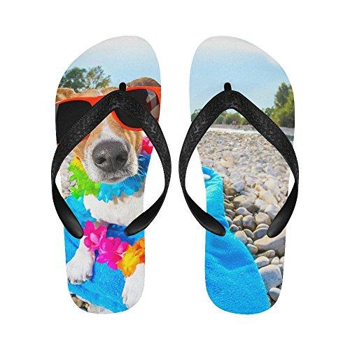 D-verhaal Jack Russell Hond Met Liggend Op Een Blauwe Handdoek Slippers Strand Sandalen Voor Mannen / Vrouwen