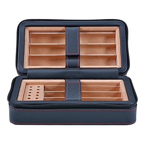 E-SDS Portable Travel Cigar Case Humidor PU Leather Cigar Box Wood Lined 6 Count (Black)