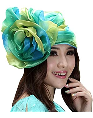 Women Hat Bucket Hats Big Flower Summer Dress Hat Green/yellow