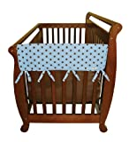 Trend Lab Cotton CribWrap Rail Covers for Crib Sides (Set of 2), Blue with Brown Dot, Wide for Crib Rails Measuring up to 18'' Around!