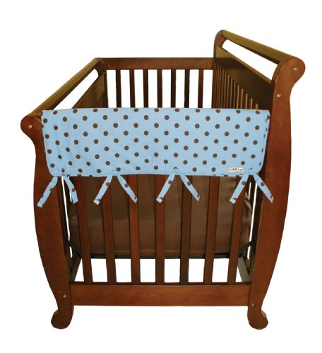 Trend Lab Cotton (Trend Lab Cotton CribWrap Rail Covers for Crib Sides (Set of 2), Blue with Brown Dot, Wide for Crib Rails Measuring up to 18