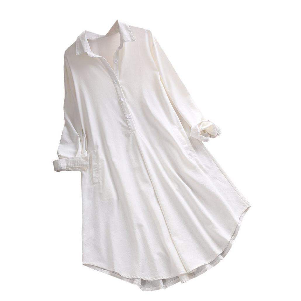 MEEYA Cotton Linen Tops, Women's Long Sleeve Plus Size Blouse Loose Casual Pocket Button Shirt