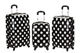 Rockland Luggage 3 Piece Laguna Beach Upright Luggage Set, Black Dot, Medium
