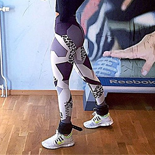 Honghu Femme Stretch Legging de Sport Femme Fitness Gym Impression Pantalon Taille M Noir&Blanc