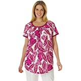 Women's Plus Size Banana Leaf Print Henley Shirt In Soft Knit