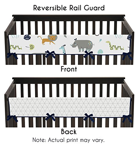 - Sweet Jojo Designs Turquoise and Navy Blue Safari Animal Long Front Crib Rail Guard Baby Teething Cover Protector Wrap for Mod Jungle Collection