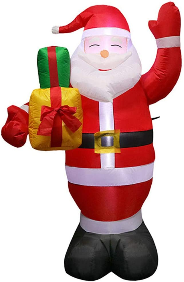 Santa Claus with Gift Bag Lighted Blow-Up Yard Party Decoration for Xmas Airblown Inflatable Home Garden Family Prop Yard Indoor Outdoor Christmas Decoration