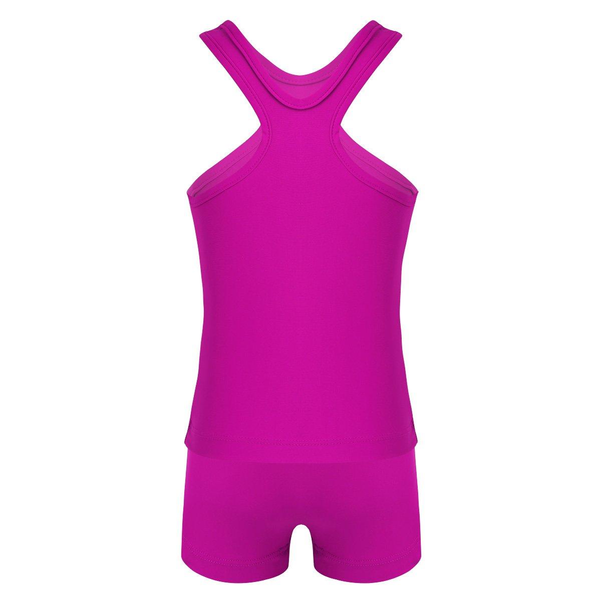 IEFIEL Maillot de Bain 2 Pi/èce Enfant Fille Gilet /& Shorts de Sport Justaucorps Gymnastique Danse Ballet sans Manches Costume de Gym Yoga Tenue 4-14 Ans