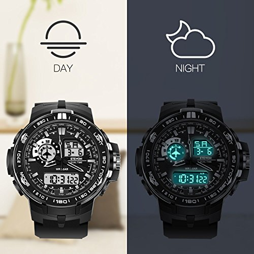 ETEVON Men's 'Air Force' Big Face Sport Watch Dual Time Zone Waterproof LED Backlight,Fashion Analog Digital Outdoor Military Watches for Men - Black