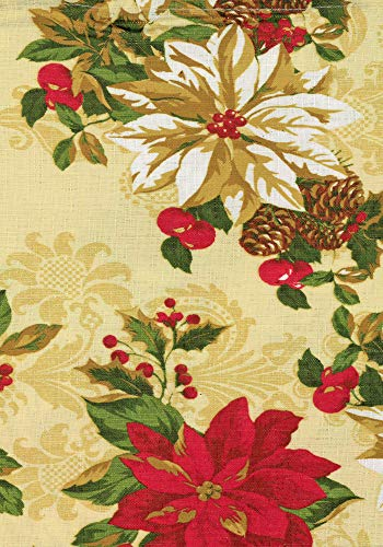 (Lintex Poinsettia Festival Print Christmas Fabric Tablecloth, Xmas Poinsettia Acorn Holiday Print Polyester Tablecloth, 60 Inch x 102 Inch Oblong/Rectangle)