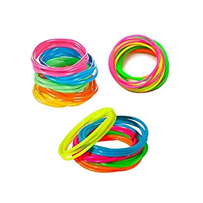 Tytroy Children Neon Rainbow Assorted Color Jelly Bracelets Birthday Party Favors Gifts - 144 piece - (144)