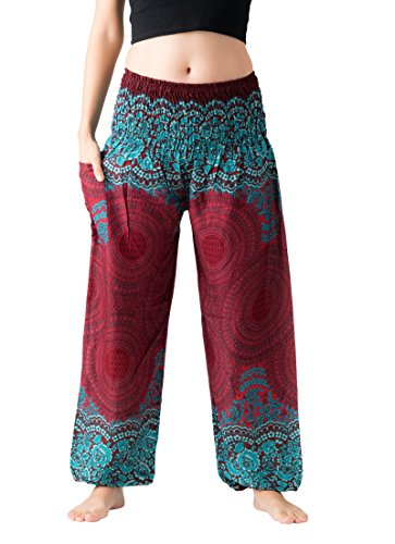 (Bangkokpants Women's Boho Pants Hippie Clothes Yoga Outfits Peacock Design One Size Fits (Rose Red) )