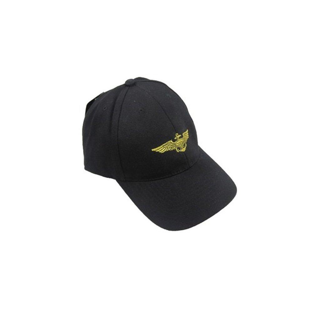 US Naval Pilot Wings Baseball Cap in Black