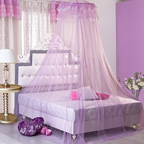 Princess Hanging Round Lace Canopy Bet Netting Mosquito Net for Crib Twin Full Queen Bed (Twin Round Crib)