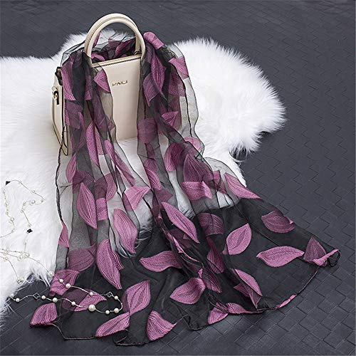 Organza Cut Flower Scarf Female Cotton And Linen Lace Stitching Leaves Pattern Silk Scarf Shawl K 180X70Cm ()