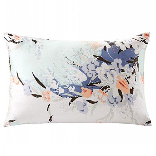 ZIMASILK 100% Natural Silk Pillowcase for Hair and Skin Health, Both Side Silk,Floral Print, 1pc (King 20x36, pattern7)