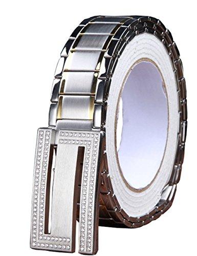 Menschwear Men's Stainless Steel Belt Slide Buckle Adjustable 32mm 148 Silver 130cm by Menschwear