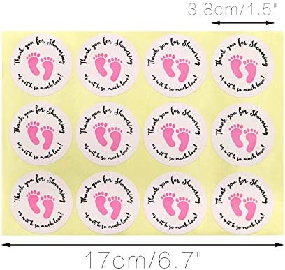 120 Labels Baby Shower Stickers,Thank You for Showering Us with So Much Love with Pink Footprint,10 sheetX 12 Labels