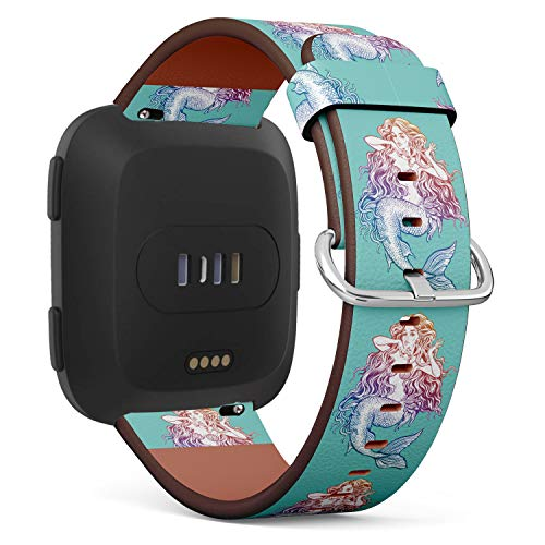 Replacement Leather Strap Printing Wristbands Compatible with Fitbit Versa - Mermaid Illustration in Turquoise Background
