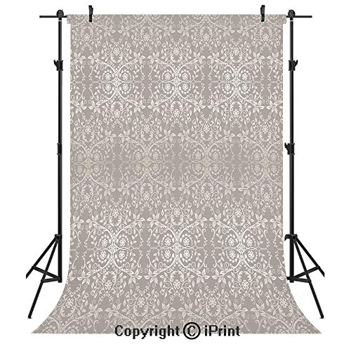 (Grey Photography Backdrops,Victorian Lace Flowers and Leaves in Retro Background Old Fashioned Graphic Print Decorative,Birthday Party Seamless Photo Studio Booth Background Banner 3x5ft,Warm Taupe )
