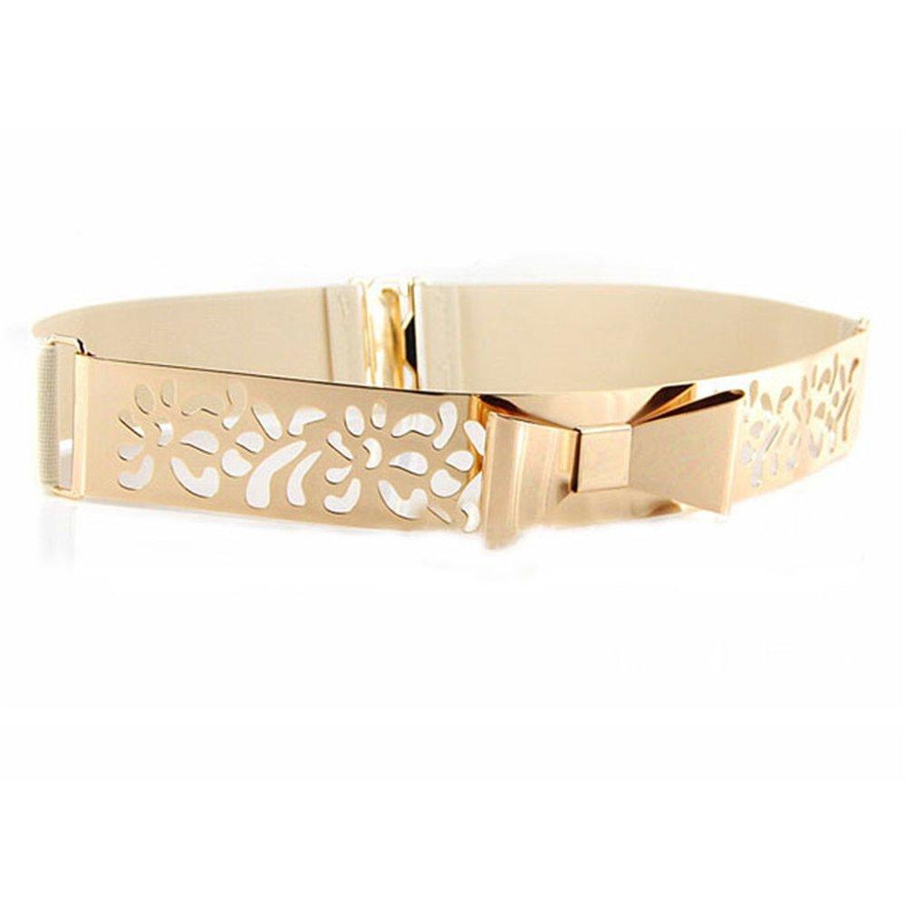 Cinturones de Mujer - Dxlta Cosecha de Ancho de la Vendimia Metal Hueco Cintura Alta Cintura Vestido decoración con Bowknot