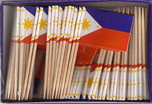 Philippines Pick (25 Box Wholesale Lot of Philippines Toothpick Flags, 2500 Small Filipino Flag Toothpicks or Cocktail Picks)