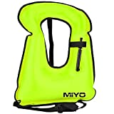 oral inflation valve - MIYO Adult Portable Inflatable Snorkel Vest Canvas Life Jacket for Diving Safety High Visibility, Durable, Lock Oral Valve Swimming Vest Safety Load Up to 220 Ibs Unisex