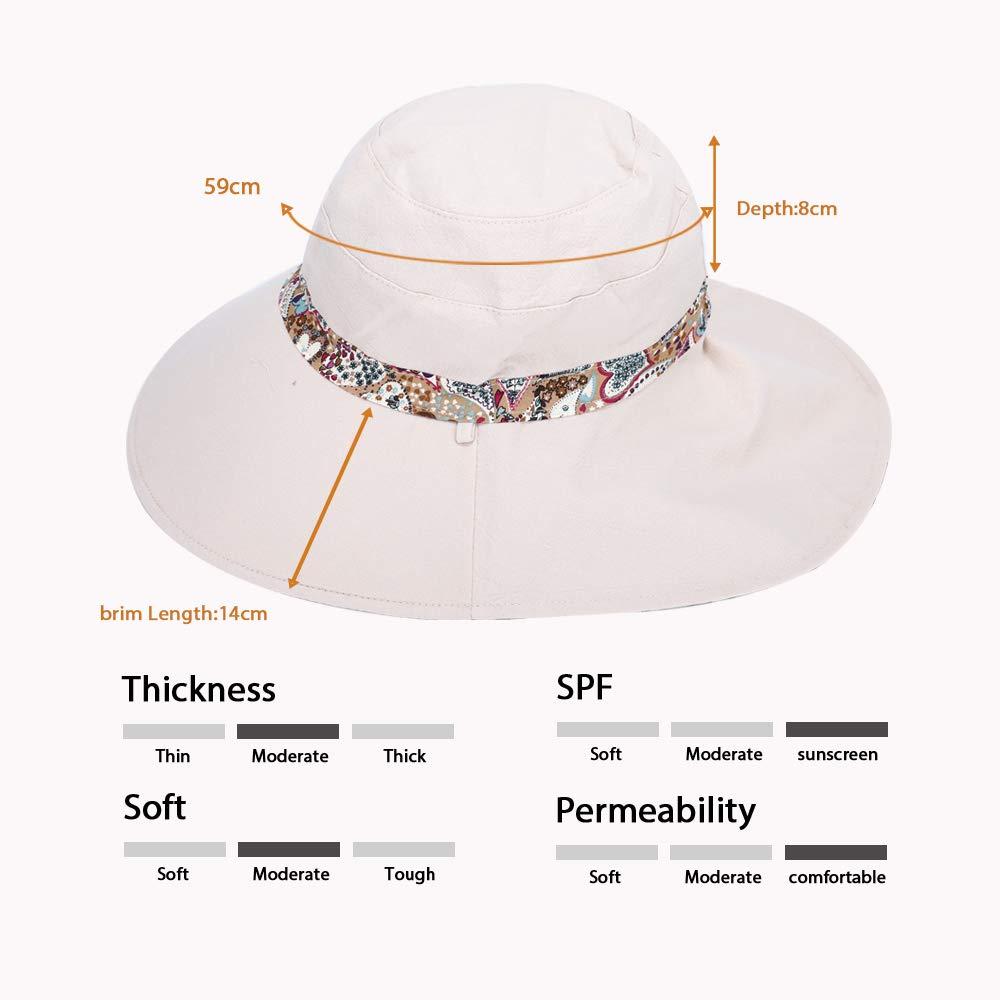 Sun Hats for Women,Outdoor UV Protection Visor Hat Summer Beach Foldable Large Wide Brim Adjustable Fishing Cap Both Sides Wear Beige
