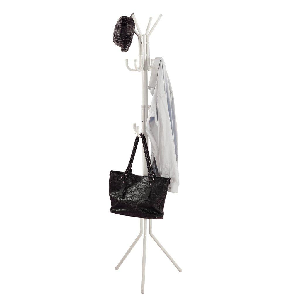 LANGRIA 3 Tier 11 Hook Free Standing Coat and Hat Rack for Garage Foyer Office Closet, Black