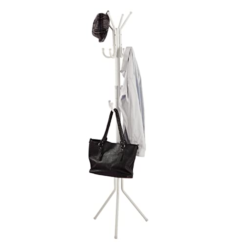 LANGRIA Metal Coat Rack Free Standing Display Stand Hall Tree with 3 Tiers and 11 Hooks for Clothes Scarves and Hats, White Finish