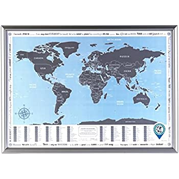 Amazoncom Framed World Map With Scratch Off Flags Edition - Small world map poster